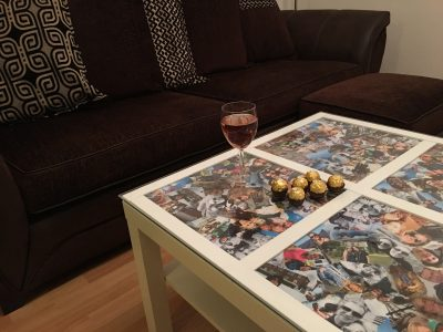 photo collage decoupage coffee table project