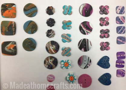 buttons made with polymer clay scrap