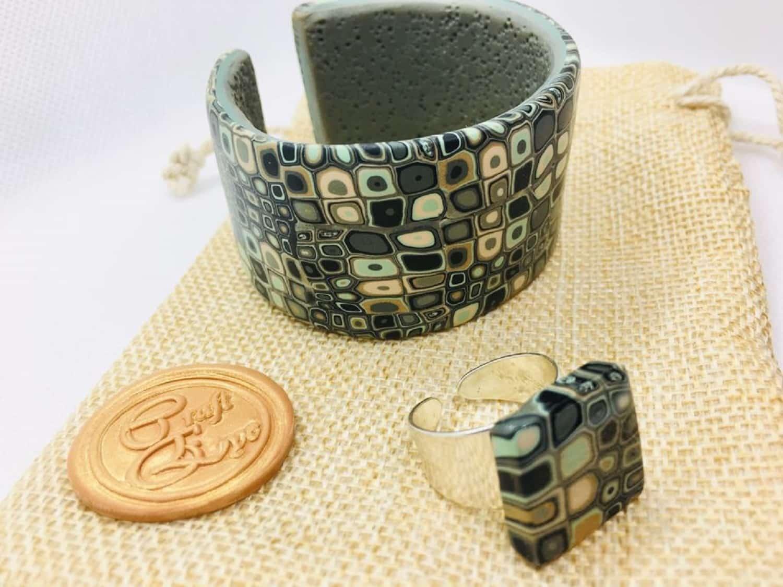 Cuff Bracelet Snake Skin Style