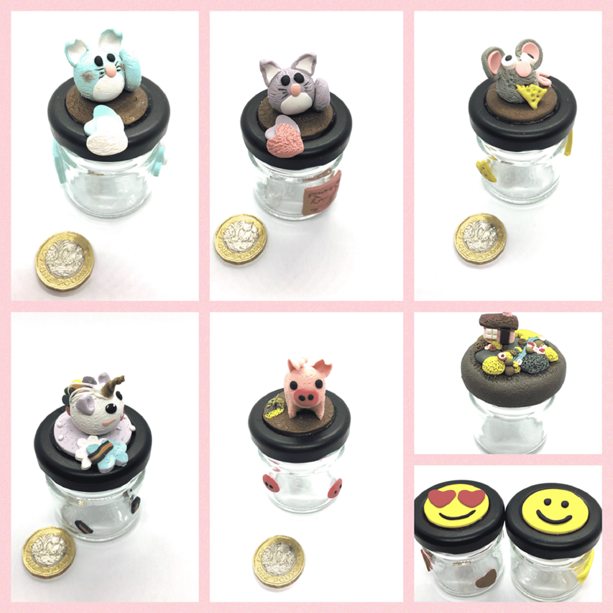 Polymer Clay Charms Decorated Glass Jars